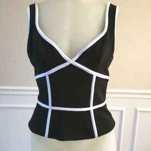 Nwt Cache black jersey corset-cami w/white piping